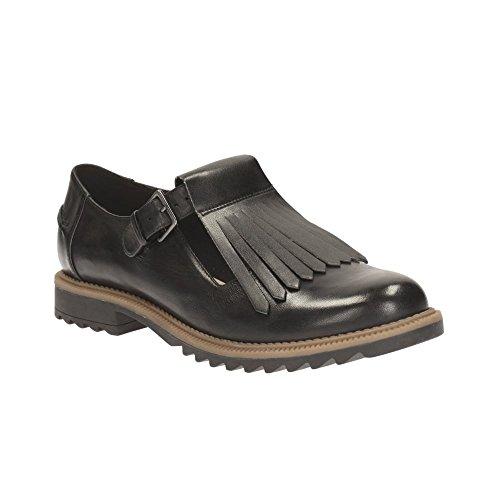 Clarks Women's T-Bar Shoes Griffin Mia Black Leather 9 UK D Black
