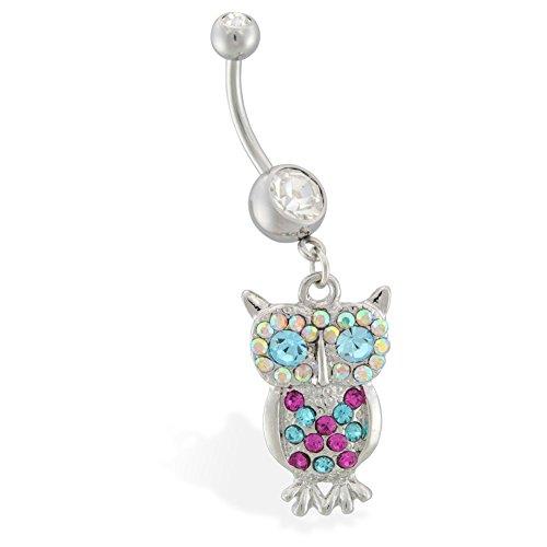 mit bunten Jeweled baumelnd Bauch Ring Eule