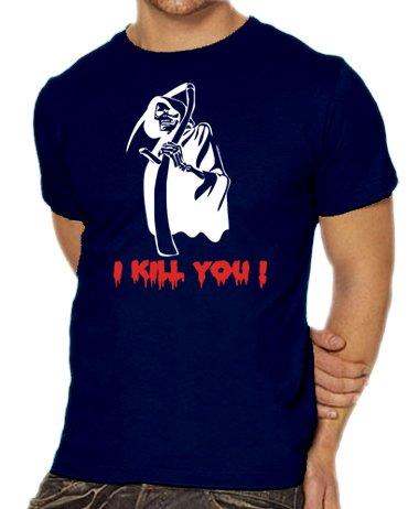 Rock Schere Kostüm Papier Halloween (Touchlines Unisex/Herren T-Shirt Sensemann - I Kill you !, navy, L,)