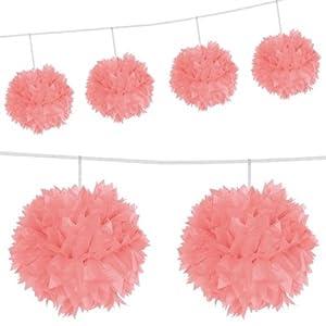 De Pom Pom Guirnalda de Panal Papel 3m Color Rosa