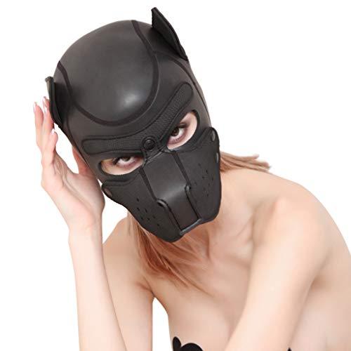 Sex Maske, Weibliche und MäNnliche Cosplay-Hundevolle Hauptmaske, Gepolsterte Gummipuppenspielmaske für Paare Soft Rollenspielmaske