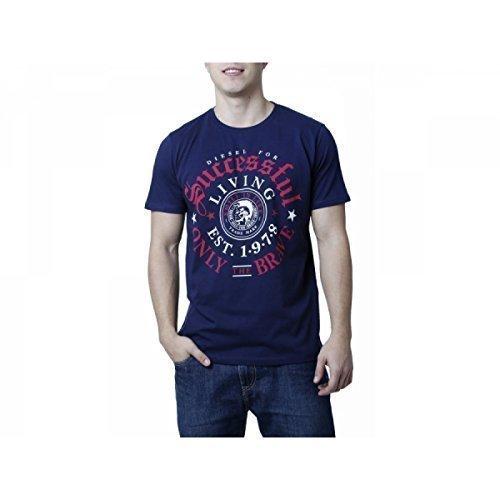 Diesel Herren T-Shirt Rundhals Kurzarm versch. Farben Thrial (S, Navyblau) -