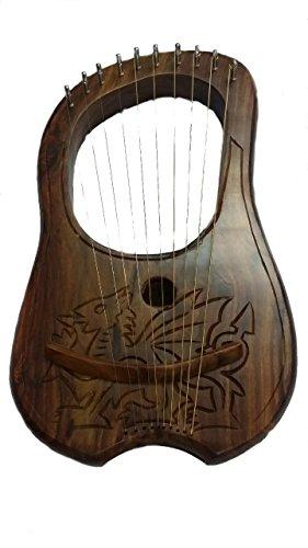 Lyre-Harpe-10-cordes-en-mtal--la-main-en-palissandre-grav-Dragon-gallois-DesignLyra-Jante-PRH-Shesham-bois