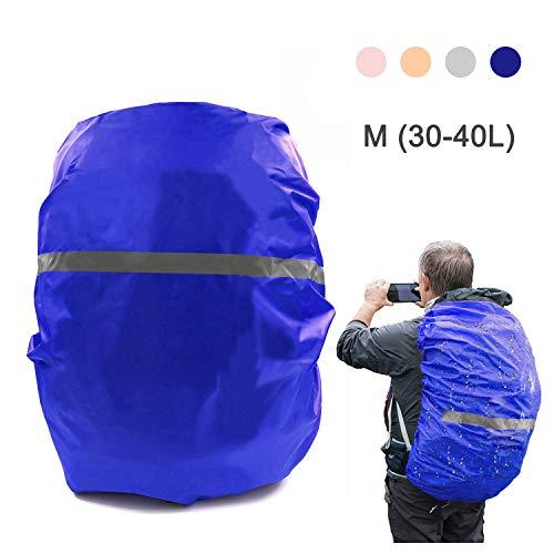 HINATAA - Funda Impermeable Ajustable para Mochila (30 – 65 L) con Tira Reflectante para Senderismo, Camping, Viajes, Ciclismo, Actividades al Aire Libre (Disponible en Varios Colores), Azul