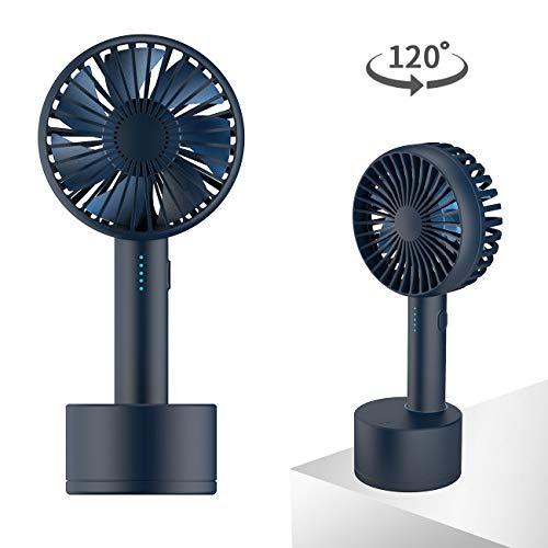 Homealexa Handventilator Tragbarer Mini USB Ventilator mit aufladbare Basis, 120° drehbarer Aromatherapie-Lüfter, 5 Windgeschwindigkeiten Leise, Klein PC Ventilator für Büro Reisen Camping und Zuhause -