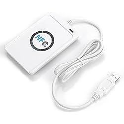 Lecteur de Carte à Puce sans Contact Lecteur/Auteur NFC RFID ACR122U ISO 14443A/B USB 2.0, 65 x 12,8 x 98 mm