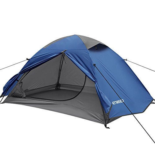 Enkeeo Kuppelzelt Campingzelt 2 Personen Zelt Verbesserte Wasserdicht Sonnenschutz und Feuchtigkeitsdicht Tunnelzelt Pop up Zelt für Camping, Wanderen, Blau
