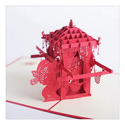 ZHOUBIN 2 fogli/set Carving and Hollowing Out 3D Cards/Greeting Cards/Regali di Natale Capodanno/Auguri di compleanno/Sedie da sposa berlinese