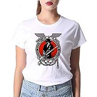 LuoMei Camiseta Estampada Blanca Jersey de Manga Corta con Cuello en o para Mujer Camiseta de Algodón Puro para MujerComo se muestra, XL