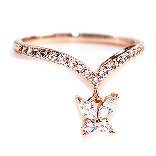 Gieschen Jewelers Joy- 14K Rose Gold-Plated CZ Crystal Dainty Ring, Size H (Touchstone Crystal Schmuck)