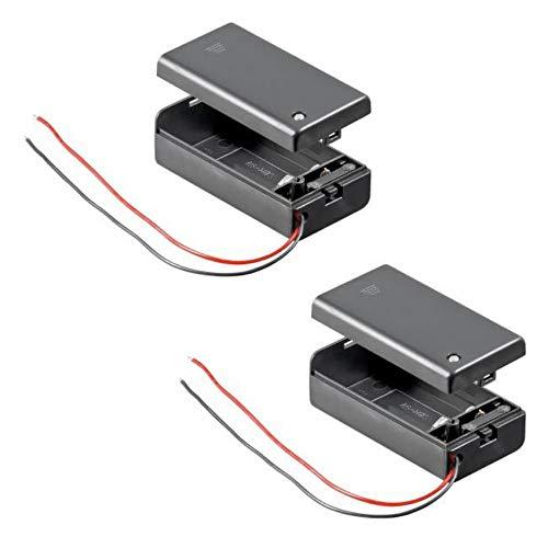 2X Batteriehalter | 9V Block | mit EIN Aus Schalter | lose Kabelenden | geschlossenes Gehäuse | wasserabweisend | schaltbar | Batteriefach Akkuhalter Aufbewahrungsbox | 2 Stück