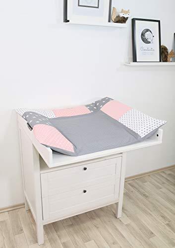 ULLENBOOM ® Bezug für Wickelauflage Rosa Grau (85x75 cm Wickelauflagenbezug, Baby Wickelunterlage aus Baumwolle, Motiv: Sterne, Punkte)