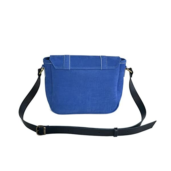 Handbag with strap; blue leather; eco-friendly - handmade-bags