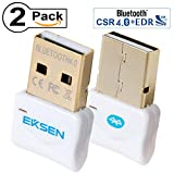 EKSEN Bluetooth CSR 4.0 USB Adaptador Dongle, Transmisor Bluetooth y Receptor Soporte Windows 10, 8, 7, Vista, XP 32/64 bit Laptop PC para Bluetooth Altavoz, Auriculares, Teclado, etc. White & White