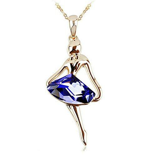 Yoursfs elegante collana con ciondolo a forma di ballerina ametista/jwewllry placcato oro 18 K