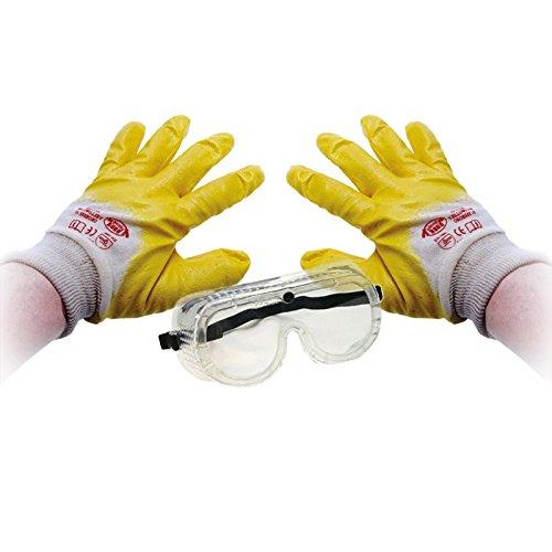 BGS Handschuhe Nitril Schutzbrille Set Schutz Arbeit Ölabweisend Fettabweisend Arbeitshandschuhe Schutzhandschuhe Nitril Beschichtung Kunststoff Augenschutz Brille Arbeits Sicherheit