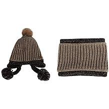MINMINA Kit Sciarpa per Bambini Cappello per Bambini Sciarpa Pettorina  Guanti Tre Pezzi Kit Autunno e 68f7ef7b8ff4