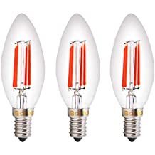 Bonlux SES LED rojo Filamento bulbo de la vela 4W Pequeño Edison Tornillo E14 LED decorativo