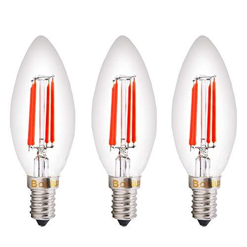 Bonlux SES-LED Rot Glühfaden Kerze-Birnen-4W Kleine Edison Screw E14 LED dekoratives Rot Fireglow Antike Kerze Glühbirnen 40W Replacement (3er-Pack)