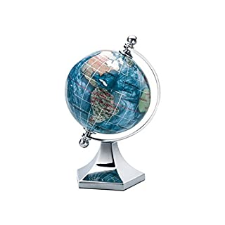 KALIFANO 3 Gemstone Globe with Marine Blue Opalite Ocean with Bright Silver Contempo Stand by Alexander Kalifano