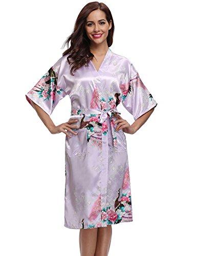 Aibrou Damen Satin Morgenmantel Kimono Lang Bademantel Schlafanzug ...