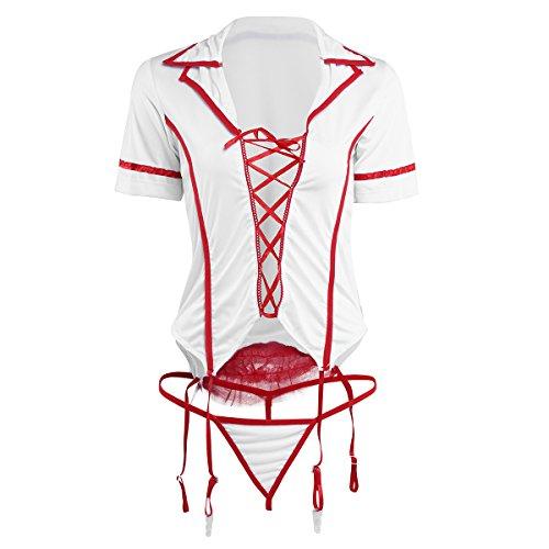 Imagen de freebily pijama conjunto de lencería + tanga + diadema de cabello disfraz de enfermera para mujer adulto
