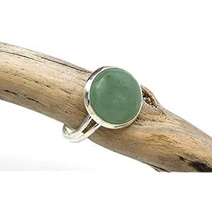Aventurin Ring Silber Grün, verstellbarer Ring Aventurin Edelstein - Silber grüner Aventurin Ring, verstellbarer Aventurin Edelstein Ring