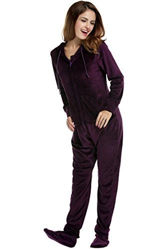 UNibelle Erwachsenenstrampler mit Füßen Onesie Schlafanzug Schlafoverall Jumpsuit körpergrößenabhängige Pyjama Dunkles Violet Dunkles Violet XXL - 3