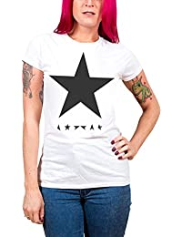 David Bowie T Shirt Blackstar Official Womens Skinny Fit White
