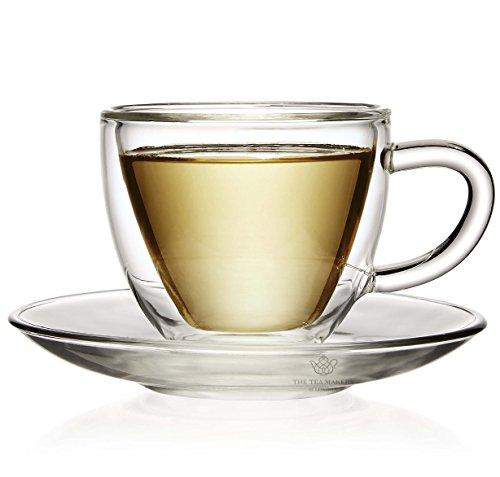 Doble pared termo de cristal taza y plato para café (100 ml) - para té o café