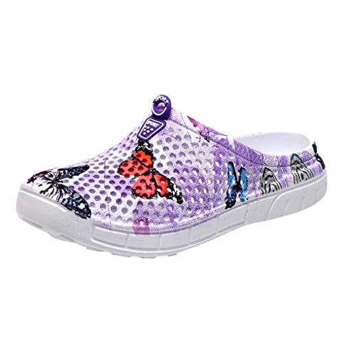 Atmungsaktive Hausschuhe Sandalen für Damen, Dorical Frauen Butterfly Drucken Beach Slipper,Schuhe Badeschuhe Flache Schuhe,Casual Bequeme Outdoor Gartenschuhe 35-42 EU Reduziert(Lila,39 EU)