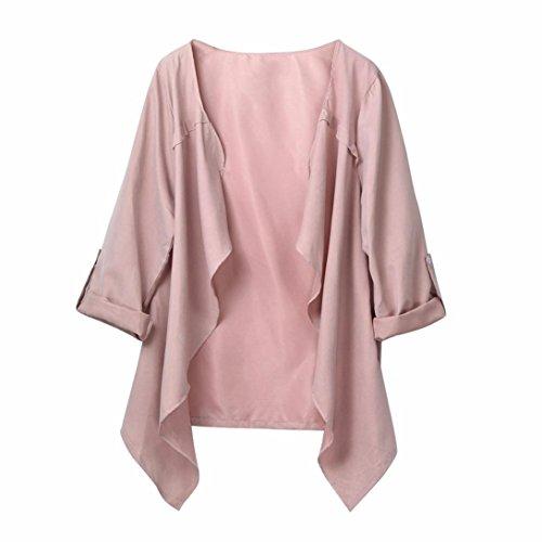 DOLDOA Damen Mantel Wolljacke,Frauen Herbst Frühling Einfarbig Loose Cardigan Outwear (Rosa, EU: 54) (In Voller Länge Cape)