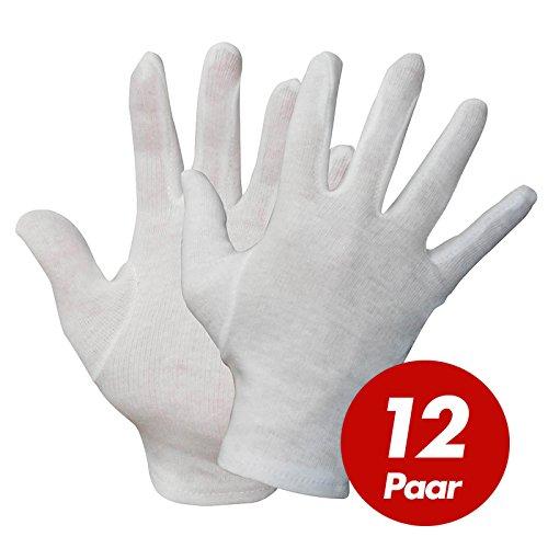 NITRAS Baumwoll Trikot-Handschuhe 531x - Unterziehhandschuhe weiß, Handschuhe fusselfrei - VPE 12 Paar, Größe:11 (XXL)
