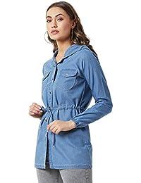 Miss Chase Women's Denim Light Blue Solid Hoodie Jacket