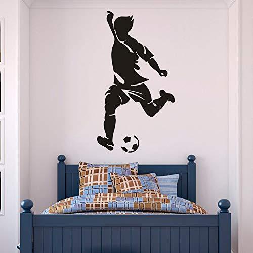 Sport Fußball Junge Wandaufkleber Männlich Sea Interior Decor Player Player Vinyl Wandtattoo Football Club Vinyl Wand Poster H615 blau 57x104 cm -