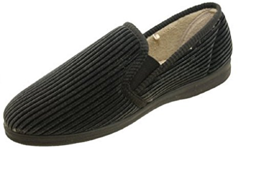 Dr Cantina, Pantofole Da Uomo Nere (velluto A Coste)