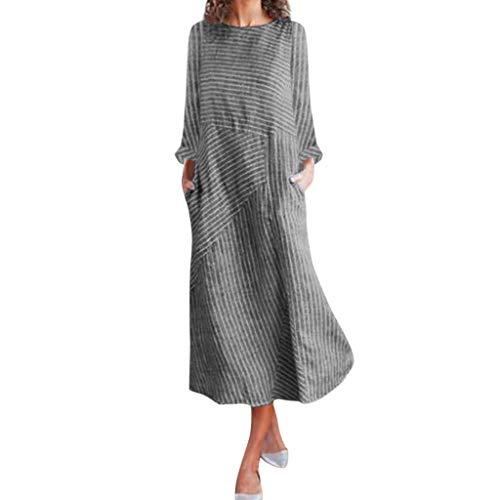 Flapper Kostüm Haustier - Gestreift Patchwork Kleider Damen Elegant Wadenlang