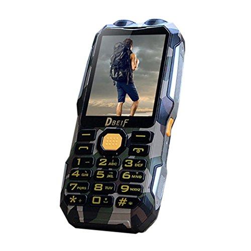 QHJ Dual SIM Outdoor Téléphone portable, écran 2,8pouces, IP68étanche, anti-chocs Rugged Téléphone portable sans contrat avec haut-parleur fort et vélo lumière de Réception TV, MP3/MP4, TarnungB