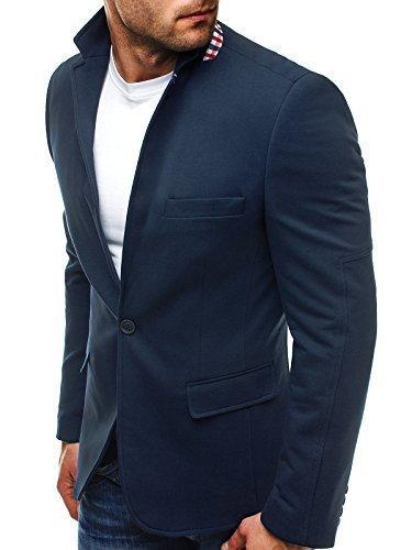 OZONEE Herren Sakko Business Anzug Kurzmantel Klassische Anzugjacke Jacket Blazer OZN 5504 L DUNKELBLAU