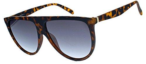 amashades Vintage Classics Übergroße Damen Sonnenbrille im Flat Top Stil groß halbrund VS76 (Hornbrille matt)