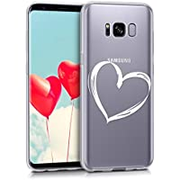 kwmobile Hülle für Samsung Galaxy S8 - TPU Silikon Backcover Case Handy Schutzhülle - Cover klar Herz Brush Design Weiß Transparent
