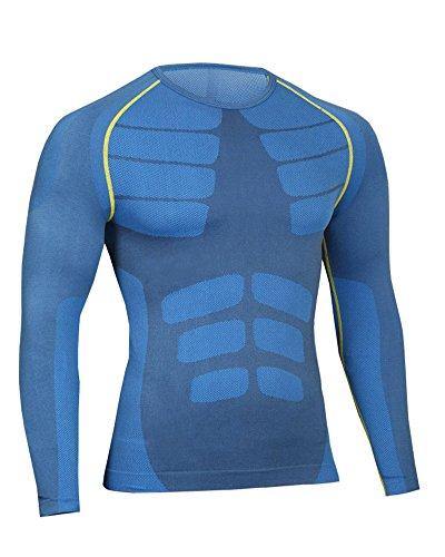 SaiDeng Uomo Tight Sports Fitness Lunghe Maniche Tops Compressione Quick Dry Camicia Blu