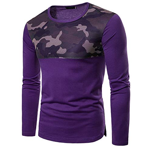 Luckycat Männer Casual Mesh Patchwork Schlank Langarm-Shirt Pollover Top Bluse Mode 2018