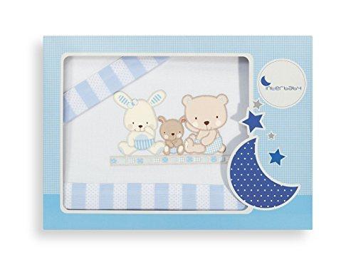 11 Stück Bettwäsche (INTERBABY 04100-11 Bettwäsche Set für Wiege - Mod Love, 3 Stück, blau)