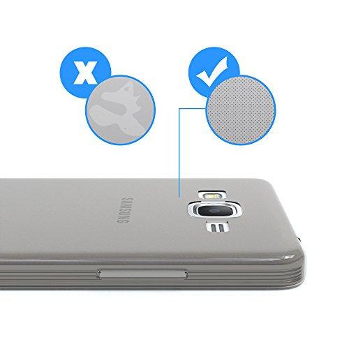 Samsung Galaxy Grand Prime Hülle - EAZY CASE Ultra Slim Cover Handyhülle - dünne Schutzhülle aus Silikon in Transparent Clear Hellgrau