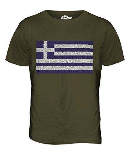 CandyMix Griechenland Kritzelte Flagge Herren T Shirt Khaki Grün