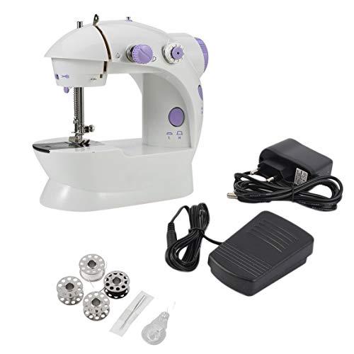 Funnyrunstore Múltiples funciones eléctrico Mini máquina de coser de escritorio del hogar con LED duradero costura hacia atrás hacia adelante