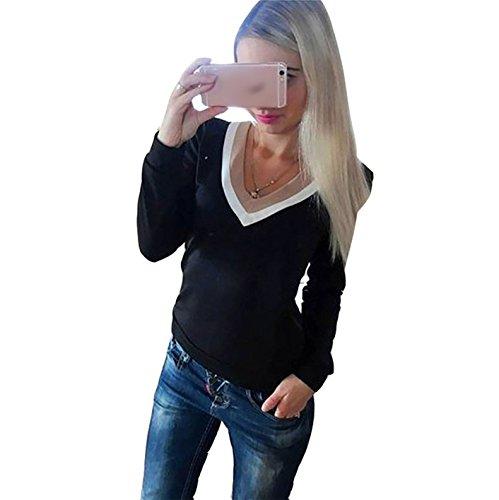 Damen V-ausschnitt Normallacks Lässig Slim Fit Hemd Langarm Loose Langshirt Oberteile T-Shirt Pulli Tops Sport Blusen Casual Schwarz