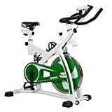 Spinning Bike Indoor Übung Bike, Spin Bike Studio Cycles Trainmaschinen Adjustable Lenker & Seat,Green