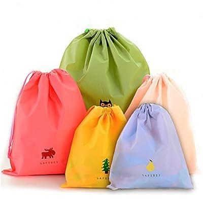 BINGONE Set of 5 Waterproof Drawstring Bag PE Plastic Folding Sport Home Travel Storage Use - cheap UK light store.